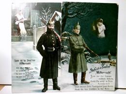 Steh Ich In Finst'rer Mitternacht. Set 2 X Alte AK Farbig. Als Feldpost Gelaufen 1915. 2 X Versch. Text. Solda - Militaria