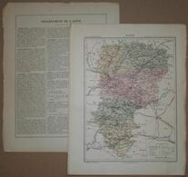 Dpt- 02 Joanne 1870 30x38 AISNE Laon Saint Quentin Soissons Vervins Château Thierry Vailly Bresne Conde Oulchy Chauny # - Carte Geographique