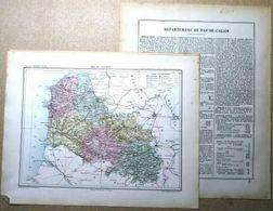 Dpt- 62 Joanne 1870 30x38 PAS De CALAIS Arras Béthune Saint-Omer St-Pol Boulogne Montreuil Avesnes Croisilles Vitry Lens - Carte Geographique