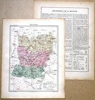 Dpt- 53 Joanne 1870 30x38 MAYENNE Laval Evron Ernee Chateau-Gontier Craon Lassay Prez En Pail Grez - Carte Geographique