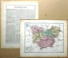 Dpt- 27 Joanne 1870 30x38 EURE Evreux Andelys Bernay Louviers Pont-Audemer Breteuil Thiberville - Carte Geographique