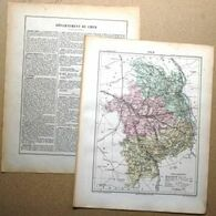 Dpt- 18 Joanne 1870 30x38 CHER Bourges Saint Amand Sancerre Charenton Vierzon Chateaumeillant Dun - Carte Geographique