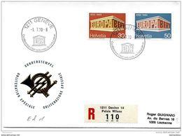 """35-27- Enveloppe Suisse Recommandée Avec Obit Spéciale  De Genève """"Conférence Internat De L'éducation 1970"""" - UNESCO"""