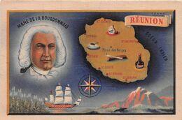 """¤¤   -  ILE-de La REUNION  -  Carte De L'Ile   -  MAHE De La BOURDONNAIS  -  Illustrateur """" SOGNO """" - Réunion"""