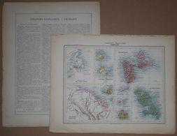 Dpt- Joanne 1870 30x38 Colonies AMERIQUE ANTILLES Guadeloupe Martinique Guyane Miquelon Terre-Neuve Galante Cayenne Pitr - Mappe