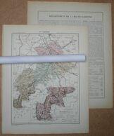 Dpt- 24 Joanne 1870 30x38 DORDOGNE Perigueux Bergerac Nontron Riberac Sarlat Montignac Brantome Savignac - Carte Geographique