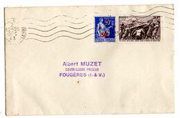 1943--Lettre De PARIS Pour FOUGERES --Composition De Timbres (Secours National + Paix Surchargé - 1921-1960: Modern Period