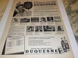 ANCIENNE PUBLICITE  VOUS CONNAISSEZ RHUM DUQUESNE   1958 - Alcools