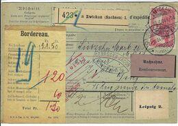 ALLEMAGNE 1904: Bulletin D'Expédition Contre-Remboursement De Zwickau Pour Genève, Affranchi à 80 Pf. - Germany