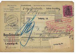 ALLEMAGNE 1904: Bulletin D'Expédition De Leipzig Pour Genève, Affranchi à 80 Pf. - Germany