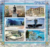 Artsakh - Armenia - Nagorno Karabakh 2020 Mi 225-229 Stepanakert Capital Buildings Statue Hotels Airport Airplane MNH** - Armenia