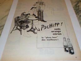 ANCIENNE PUBLICITE TENNIS  AU BAR ET PSCHITT SODA 1956 - Affiches
