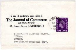GB 1962, 3d Streifband Ganzsache V. Liverpool M. Zudruck Journal Of Commerce - Gran Bretagna