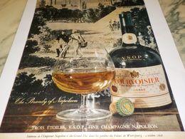 ANCIENNE  PUBLICITE COGNAC  COURVOISIER THE BRANDY OF NAPOLEON 1959 - Alcohols