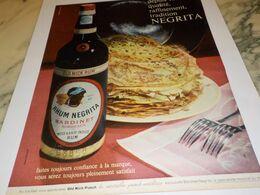 ANCIENNE PUBLICITE LES CREPES ET  RHUM NEGRITA   1951 - Alcohols