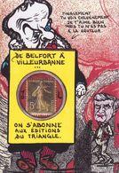 CPM Timbre Monnaie Belfort Tirage Limité En 30 Ex. Numéroté Signés Non Circulé Chevénement Hernu - Münzen (Abb.)