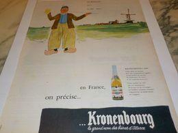 ANCIENNE PUBLICITE HOLLANDE  BIERE KRONENBOURG 1955 - Alcohols