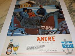 ANCIENNE PUBLICITE ANCRE PILS EN HIVERS 1959 - Alcohols