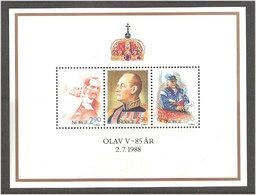 Norway Norge 1988 King Olav V 85 Years, Mi Bloc 9 , MNH(**) - Norwegen