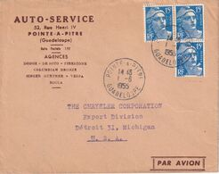 GUADELOUPE 1955 PLI AERIEN DE  POINTE A PITRE POUR DETROIT - 1945-54 Maríanne De Gandon