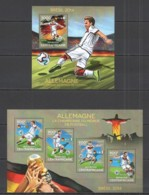 CA528 2014 CENTRAL AFRICA CENTRAFRICAINE SPORT FOOTBALL WORLD CUP BRAZIL CHAMPIONS GERMANY KB+BL MNH - 2014 – Brasil