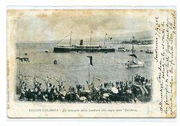"""REGGIO CALABRIA-LA CONSEGNA DELLA BANDIERA ALLA REGIA NAVE """"CALABRIA""""RARISSIMA -Vg Il 7-6-1902 X GURTEN KULM-SVIZZERA - Reggio Calabria"""