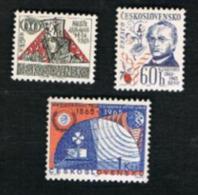 CECOSLOVACCHIA (CZECHOSLOVAKIA) -  SG 1507.1510 - 1965  ANNIVERSARIES  (COMPLET SET OF 3)         -  MINT** - Czechoslovakia