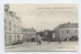 CPA 1915 LOIRE ATLANTIQUE ORVAULT ANIME PLACE EGLISE RUE DU CALVAIRE TBE HOTEL CHARCUTERIE ... - Orvault