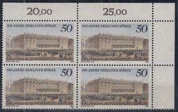 BERLIN 740,  4erBlock Eckrand Oben Rechts, Postfrisch **, Berliner Börse 1985 - Ungebraucht
