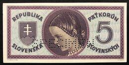 "Slovacchia Slovakia Slovenska 5 Korun ""Girl SPECIMEN"" P#8s SUP/FDS  Lotto 1534 - Slowakije"