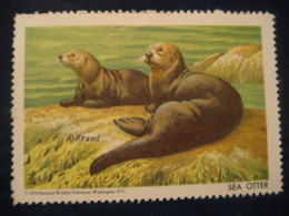 WASHINGTON 1958 SEA OTTER Wildlife Poster Stamp Vignette USA Label Marine Mammal Mammals - Mammifères Marins
