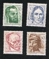CECOSLOVACCHIA (CZECHOSLOVAKIA) -  SG 1553.1556    - 1966  CULTURAL ANNIVERSARIES  (COMPLET SET OF 4)         -  MINT** - Czechoslovakia