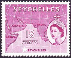SEYCHELLES 1954 QEII 18c Crimson SG178 MH - Seychelles (...-1976)