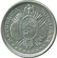 Ref. 971-1102 - COI BOLIVIA . 1898. BOLIVIA 50 CENT. 1898 SILVER. BOLIVIA 50 CENT. 1898 SILVER - Bolivia