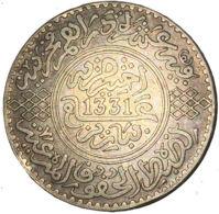 Ref. 1663-1900 - COI MOROCCO . 1913. 1913 MOROCCO MARRUECOS 1331 SILVER PLATA. 1913 MOROCCO MARRUECOS 1331 SILVER PLATA - Maroc