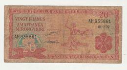 Banque De La Republique Du Burundi 20 Francs 1977 Used Banknote - Burundi