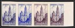 France N°1129 Cathédrale De Rouen (eglise Church) Bande 4 Strip Essai Proof Non Dentelé Imperf ** Mnh - Essais