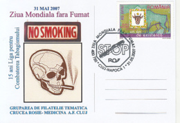 HEALTH, DRUGS, WORLD DAY WITHOUT SMOKING, SPECIAL POSTCARD, 2007, ROMANIA - Droga