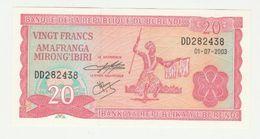 Banque De La Republique Du Burundi 20 Francs 2003 UNC - Burundi