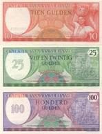 Suriname : Série De 3 Billets UNC : 10G 1963 + 25G 1985 + 100G 1985 - Suriname