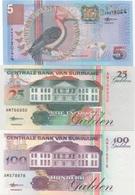 Suriname : Série De 3 Billets UNC : 5G 2000 + 25G 1998 + 100G 1998 - Suriname