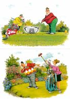 Golf 2x Driving Range Comic Postcard S - Humor