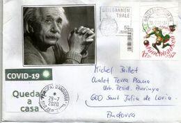 Einstein Sur Lettre à Andorra, Arrivée Durant Confinement COVID19,avec Vignette Locale STAY HOME / QUEDA'T A CASA - Albert Einstein