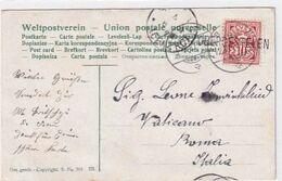 Obergestelen - Stabstempel Auf Ansichtskarte Geschickt An Einen Walliser Gardisten Im Vatikan - 1907     (P-264-00602) - Postmark Collection