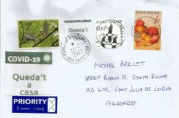Finlande,lettre à Andorra, Arrivée Durant Confinement COVID19,avec Vignette Locale Prévention STAY HOME / QUEDA'T A CASA - Finland