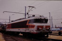 Photo Diapo Diapositive Slide Train Wagon Locomotive Electrique SNCF CC 6554 à VSG Le 06/02/92 VOIR ZOOM - Diapositives (slides)