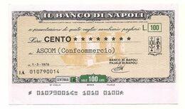 1976 - Italia - Banco Di Napoli - ASCOM (Confcommercio) - [10] Scheck Und Mini-Scheck
