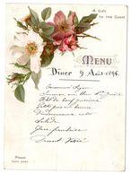 MENU DE 1896 A DECORS DE ROSES COULEUR AU VERSO PUBLICITE LIEBIG - Menükarten