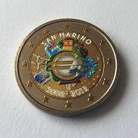 SAINT MARIN 2012 - 10 ANS DE L'EURO -  2 EUROS COMMEMORATIVE  -  VERSION COULEUR - San Marino