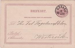 Sweden-1880 6 Ore Purple Text B Postal Stationery Postcard Upsala (single Circle 22 Mm) Postmarked Cover To Westervik - Ganzsachen